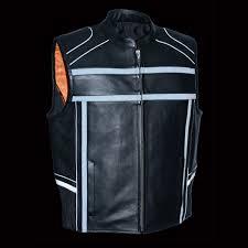 biker jacket vest men u0027s reflective band u0026 piping zipper front vest extreme biker wear