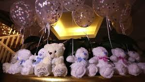 teddy bears inside balloons teddy bears sitting in a row white teddy bears helium balloons