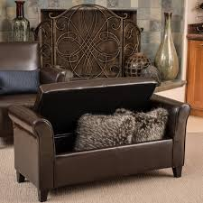 torino bonded leather brown armed storage ottoman by christopher