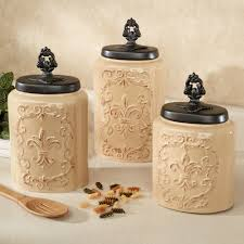 kitchen coffee themed kitchen canister sets for kitchen cream fioritura canister sets with black top for kitchen accessories ideas
