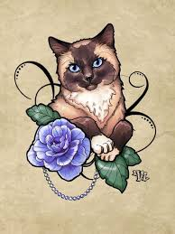 cat with blue rose tattoo design in 2017 real photo pictures