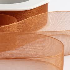 copper ribbon organza woven edge ribbon uk wedding favours