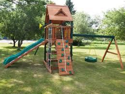 Backyard Swing Sets For Kids by Gorilla Playsets Frontier Cedar Wooden Swing Set Walmart Com