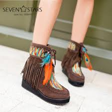 womens boots peacocks fashion s ethnic embroidery tassel lace up boots peacock