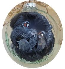 custom black shih tzu painted ornament by lisadefeoart