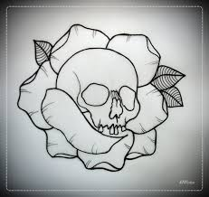 skull in rose tattoo flash outline by oldskulllovebymw deviantart