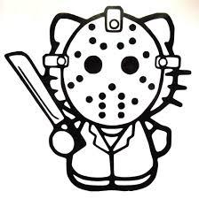 hello kitty jason friday 13th halloween gothic vinyl sticker decal