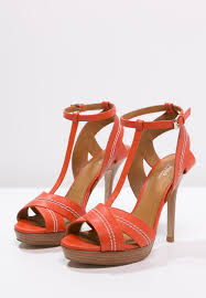 polo ralph lauren filipa high heeled sandals orange women