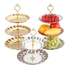 2 3 tier metal cake stand with fruit plate candy dish circle round