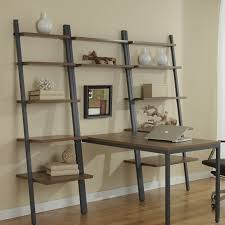 furniture interesting oak wood leaning bookcase with desk on