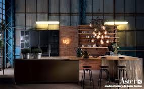 cuisine bois acier cuisine style industrielle métal bois brut brique