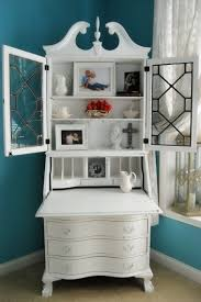 Secretary Desk Hutch by White Corner Secretary Desk With Drawers And Spacious Hutch Glass