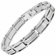 stainless link bracelet images Men 39 s 1 2 ct t w diamond link bracelet in stainless steel 8 25 jpg