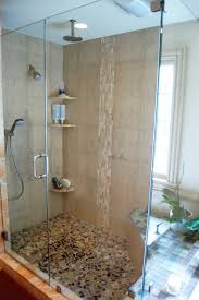gorgeous bathroom shower with glass door and cream ceramic wall