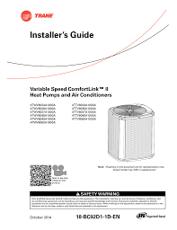 trane xv18 install manual