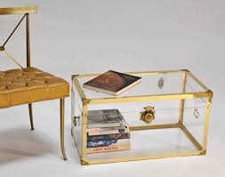 Gold Coffee Table Tray furniture rectangle acrylic coffee table with shelf and white