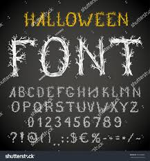 spooky forest style hand drawn font stock vector 307820882