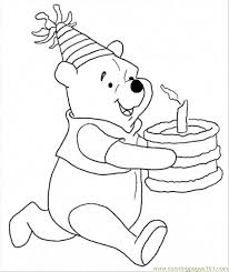 pooh bear birthday coloring pages coloring pages ideas