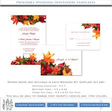 autumn wedding invitation template printable do it yourself kits
