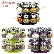 modern 16 revolving kitchen spice rack glass jars purple black