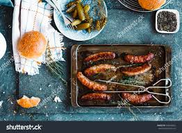 grilled sausages oven pan pickled vegetables stock photo 543004663