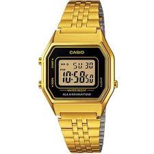 casio donna piccolo orologio casio donna in acciaio pvd oro giallo cassa 28 mm nero