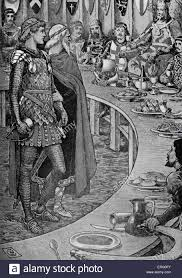 king arthur an old man presents sir galahad to king arthur from