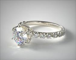 scalloped engagement ring scalloped pave engagement ring platinum allen 17466p