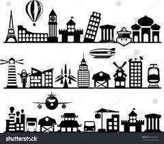 vector city icons different houses transportation stock vector