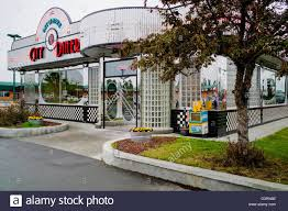 Exterior View Exterior View Of Retro Design Stainless Steel City Diner