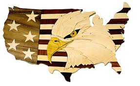 american eagle usa map wood intarsia display hill cutlery