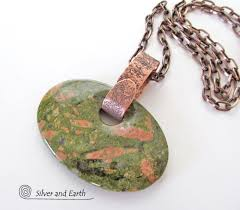 copper necklace chain images Unakite pendant necklace on antiqued copper chain big stone jpg
