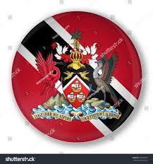 Flag For Trinidad And Tobago Illustration Badge Flag Trinidad Tobago Shadow Stock Illustration