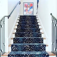 Blue Animal Print Rug Sally Wheat Interiors Antelope Stair Runner Sally Navy And