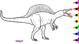 how to draw a spinosaurus dinosaur for children learn colors and