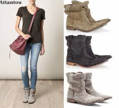 womens leather biker boots sale attantou ankle boots suede autumn shoes flat nubuck leather