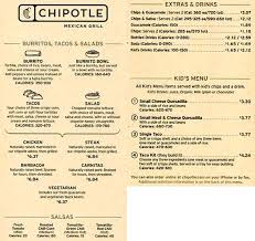 menu for chipotle mexican grill 1736 n federal hwy