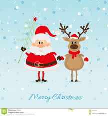 santa claus with tree and reindeer royalty free stock