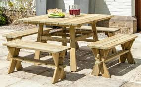 rustic square pine picnic table benches garden set alexander rose