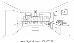 island kitchen plan sketch modern kitchen plan island vector photo bigstock