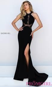 the black dress sherri hill black lace dress promgirl