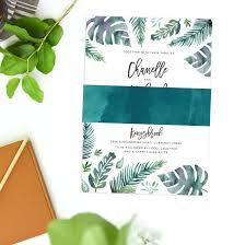 tropical wedding invitations tropical wedding invitations monstera leaves sail and swan