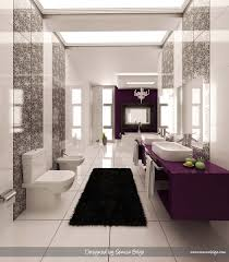 contemporary black and white bathroom design dark wood cabinet and