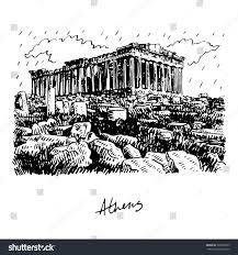 parthenon temple on athenian acropolis greece stock vector