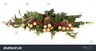 christmas decorative floral arrangement holly mistletoe stock