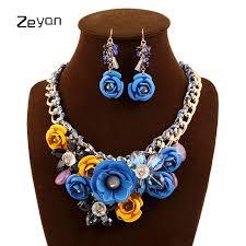 crystal choker necklace set images Flower collar crystal choker necklace for girls with earrings sets jpg