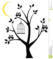 owl tree vector silhouette owls cage moon crescent 43761690 jpg