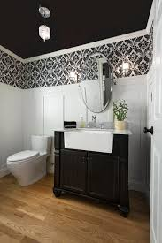 Free Standing Bathroom Vanities by Farmhouse Wallpaper Borders Powder Room Traditional With Black