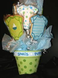 baby shower puppy theme blue and green baby shower cookie bouquet cakecentral com