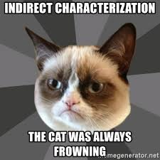 Frowning Meme - indirect characterization the cat was always frowning grumpy cat